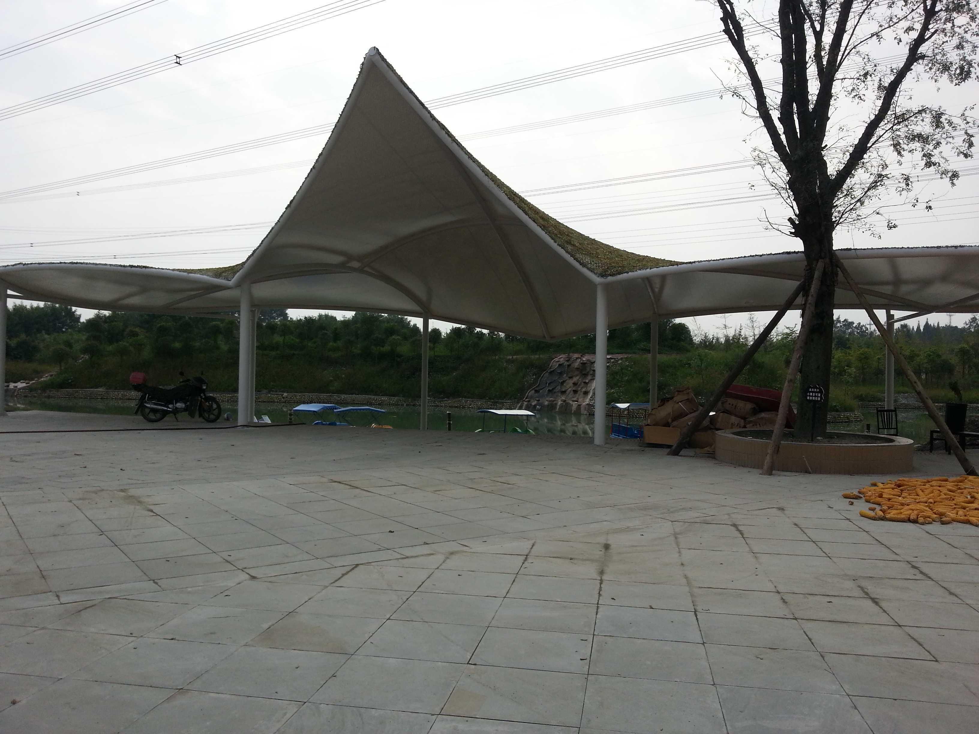 都江堰柳风休闲温泉酒店广场景观膜结构竣工图